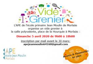 ANNULÉ - Vide grenier APE Jean Moulin @ Salle polyvalente